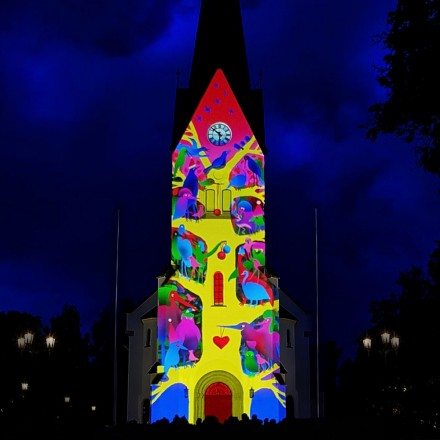 Light projection on Hamar Domkirke